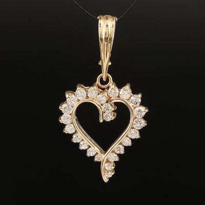 14K 1.02 CTW Diamond Heart Enhancer Pendant