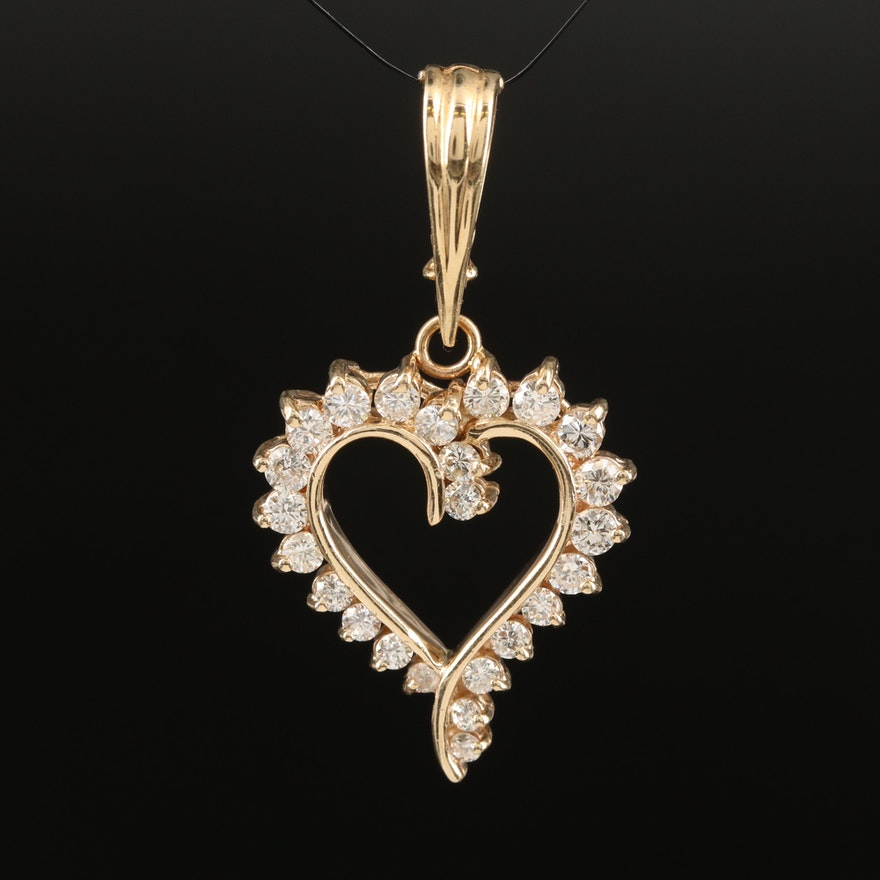 14K 1.02 CTW Diamond Heart Enhancer Pendant