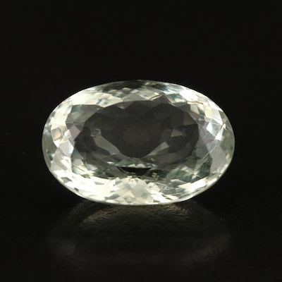 Loose 18.41 CT Oval Faceted Prasiolite