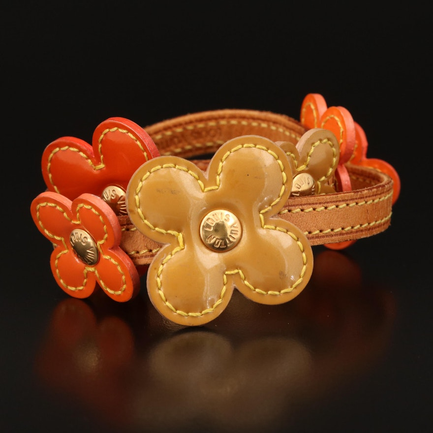 """Louis Vuitton """"Lexington"""" Leather Flower Wrap Bracelet"""
