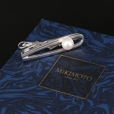 Mikimoto Sterling Silver and Pearl Tie Clip