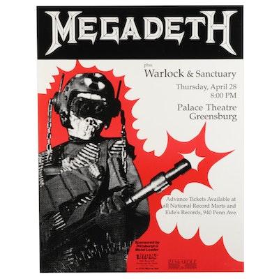 Megadeth, Warlock, and Sanctuary Greensburg Concert Poster, 1988