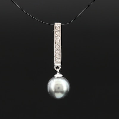 14K Pearl and Diamond Slide Pendant