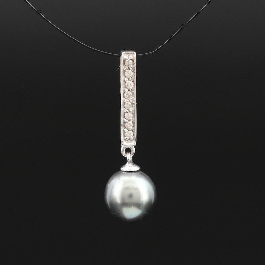 14K Pearl and Diamond Slide Pendant