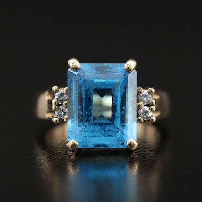 14K Swiss Blue Topaz and Diamond Ring