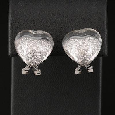 14K Diamond and Rock Crystal Quartz Earrings