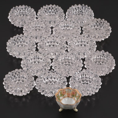 Hobnail Glass Salt Cellars with Hand-Painted Porcelain Salt Cellar