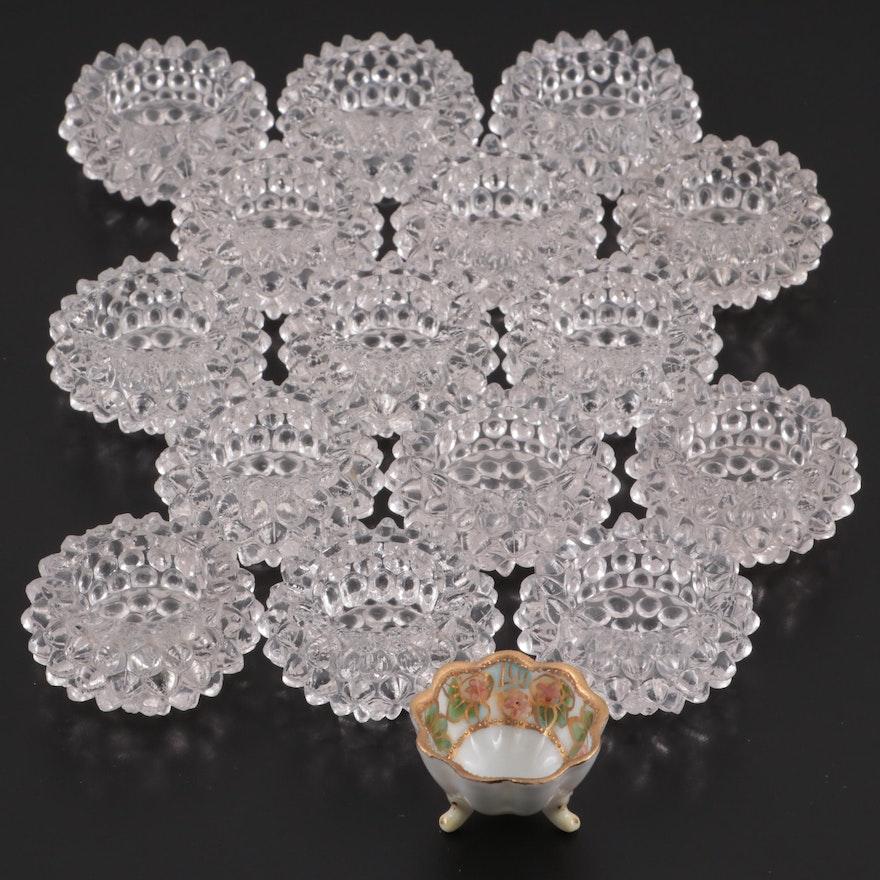 Hobnail Glass Salt Cellars with Hand-Painted Porcelain Salt Cellar
