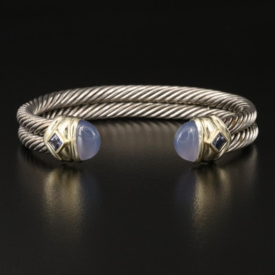 "David Yurman ""Renaissance"" Sterling Chalcedony Cuff with 14K Accents"