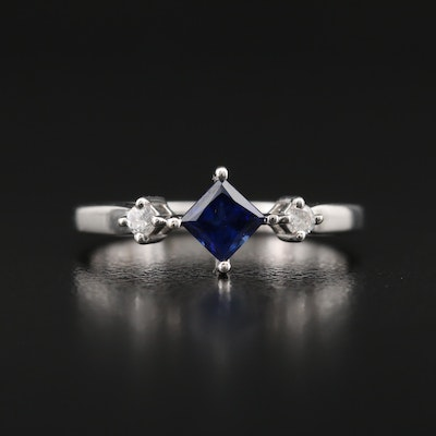 10K Sapphire and Cubic Zirconia Ring
