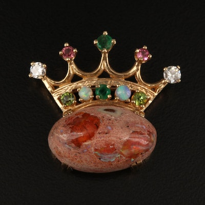 14K Boulder Opal, Diamond, Emerald, Tourmaline and Opal Crown Brooch