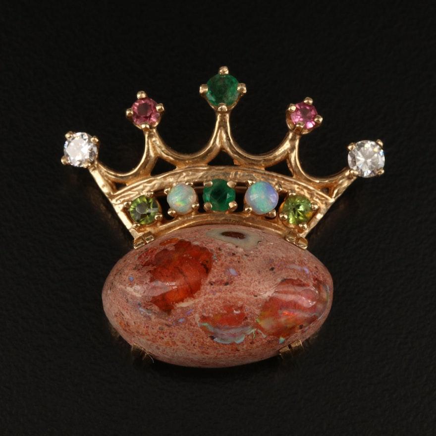 14K Boulder Opal, Diamond, Emerald, Tourmaline and Opal Crown Brooch