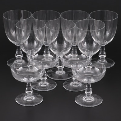 """Baccarat """"Angouleme"""" Crystal Tall Water Goblets and Champagne Coupes"""