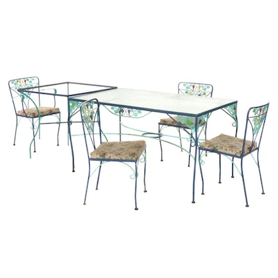 Hand-Painted Cast Iron Patio Furniture Set, Mid-20th Century