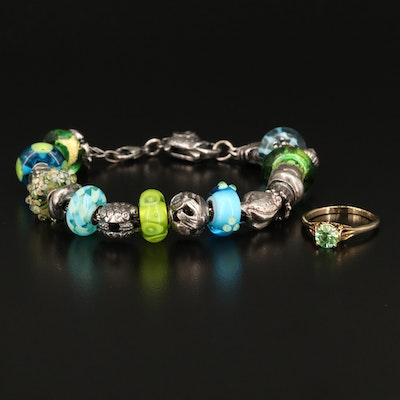 Sterling Sea Life Charm Bracelet with Open Gallery Ring