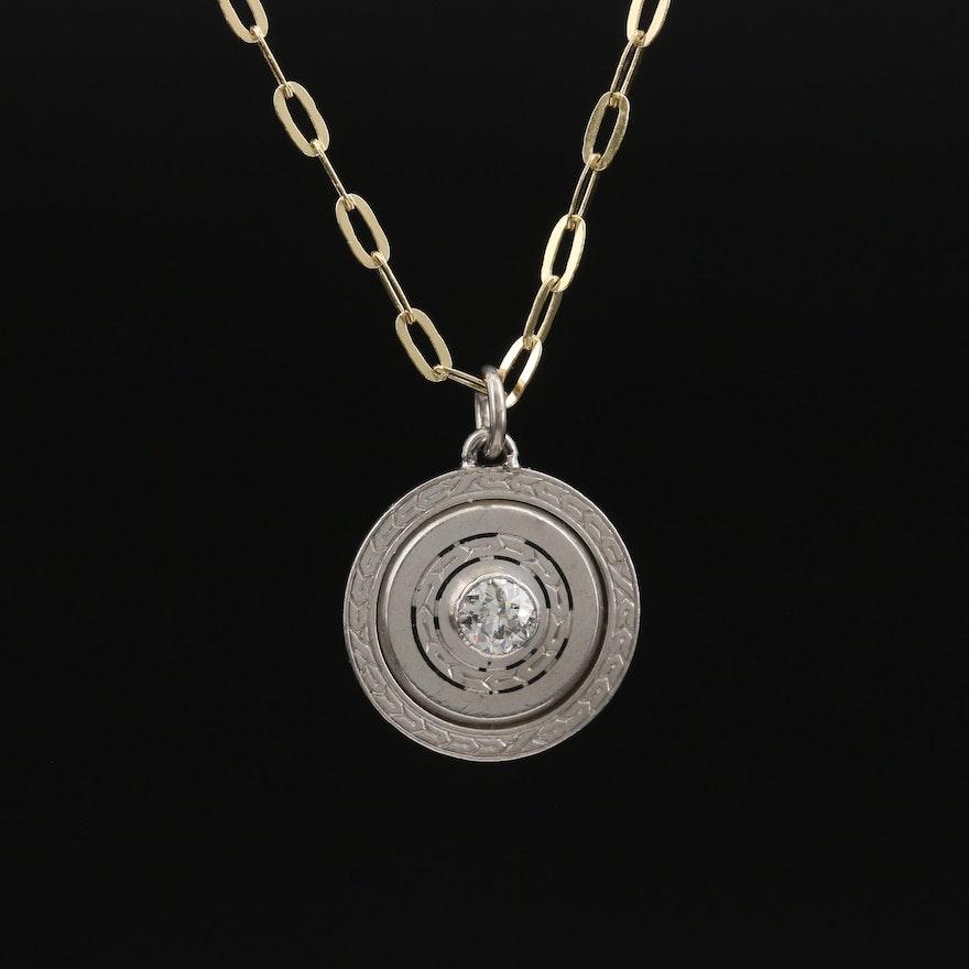 Art Deco Platinum Diamond Pendant on Italian 10K Chain Necklace