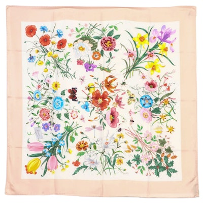 Gucci Flora and Insecta Silk Twill Scarf