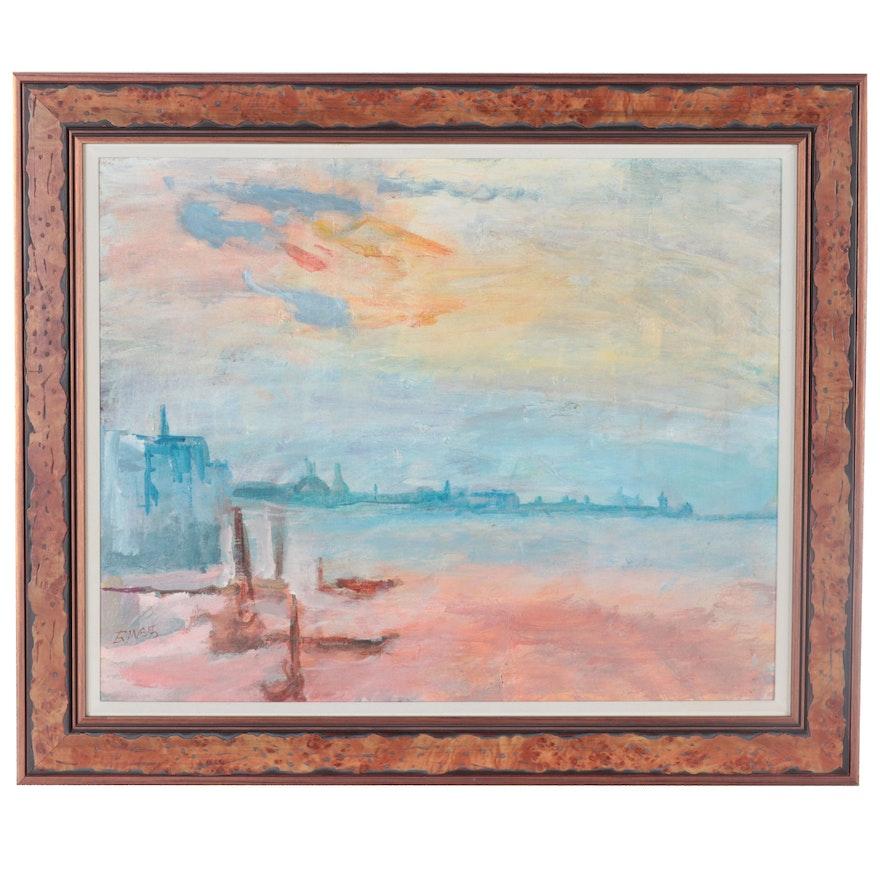 Sunset Landscape Oil Painting, 1985