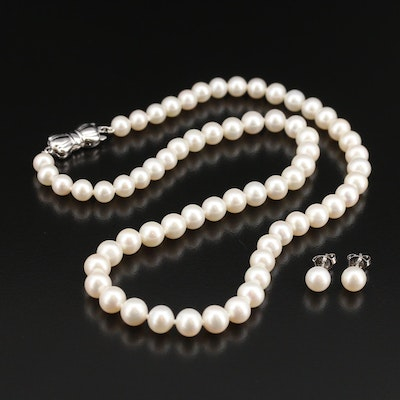 "Blue Lagoon ""Sea Magic"" By Mikimoto Pearl Necklace and Earring Set"