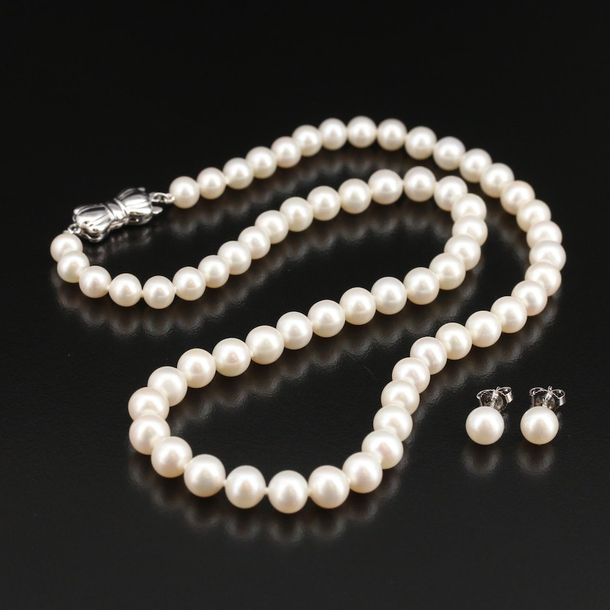 """Blue Lagoon """"Sea Magic"""" By Mikimoto Pearl Necklace and Earring Set"""