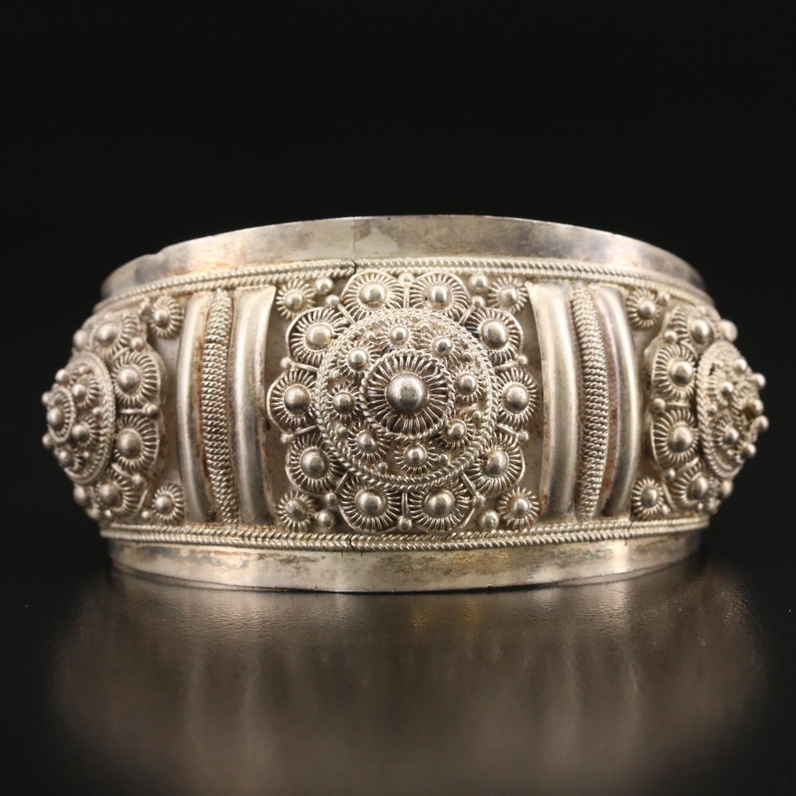 950 Silver Cannetille Cuff