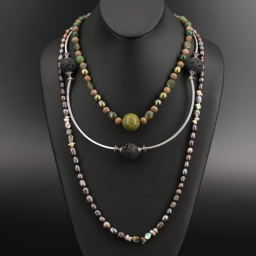 Lava, Pearl, Abalone and Gemstone Necklaces