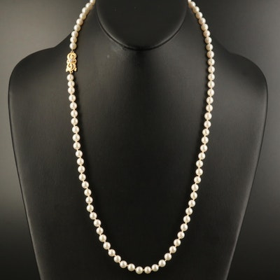 Mikimoto 18K Clasp on Restrung Strand of Pearls
