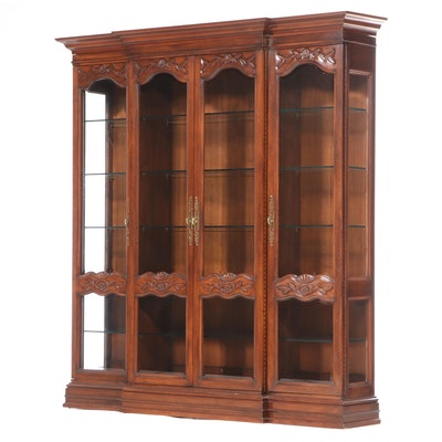 French Provincial Style Pecan-Stained Breakfront Display Cabinet