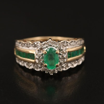14K Emerald and Diamond Scalloped Ring