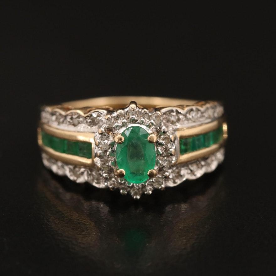 14K Emerald and Diamond Scalloped Ring