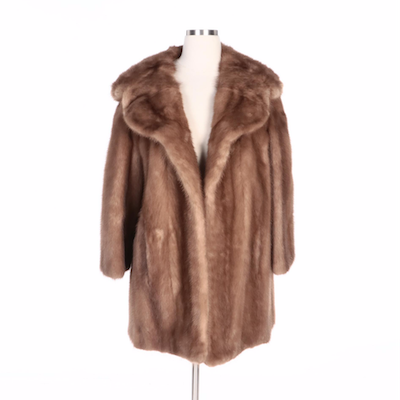 Mink Fur Stroller Coat with Scalloped Shawl Collar