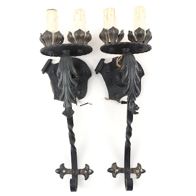 Pair of Gothic Revival Style Wrought Iron Candlestick Wall Sconces