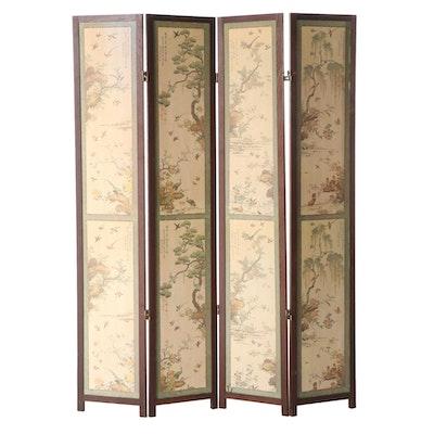 Japanese Bird and Landscape Motif Four-Panel Folding Screen