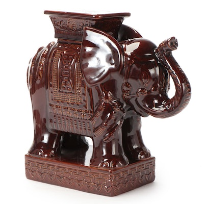 Chinese Style Brown-Glazed Elephant Garden Stool