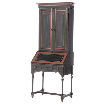 Pulaski Ebonized Wood 2-Piece Drop-Front Secretary Bookcase