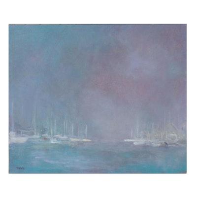 Oil Painting of Sailboats on the Horizon, circa 2000
