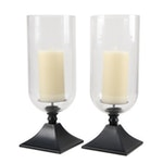 """Pottery Barn """"Caleb"""" Patinated Metal and Glass Hurricanes with Faux Candles"""
