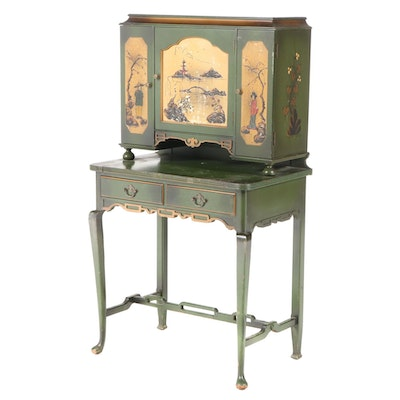 Chinoiserie Paint-Decorated Lady's Secretary, Mid-20th Century