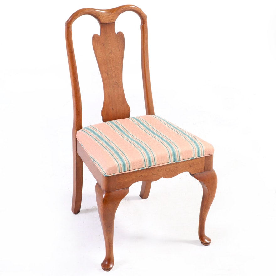 Queen Anne Style Upholstered Walnut Side Chair, Late 20th Century