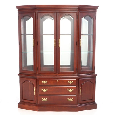 American Drew Cherry Two-Piece Mirrored-Back China Cabinet, Late 20th Century