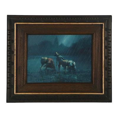 Cesar Buenaventura y Espinosa Oil Painting of Rice Farmes, 1971