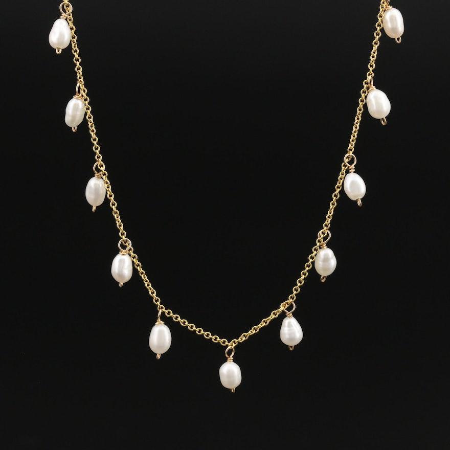 Italian 14K Pearl Fringe Necklace
