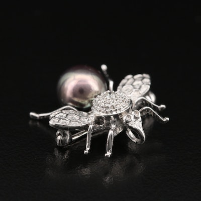 14K Pearl and Diamond Insect Converter Brooch