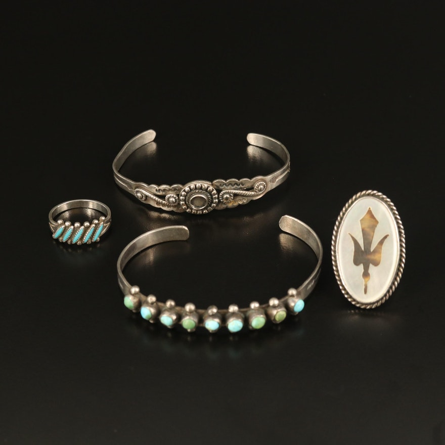 Bell Trading Post Inlay Ring, Bird Inlay Ring and Sterling Cuffs