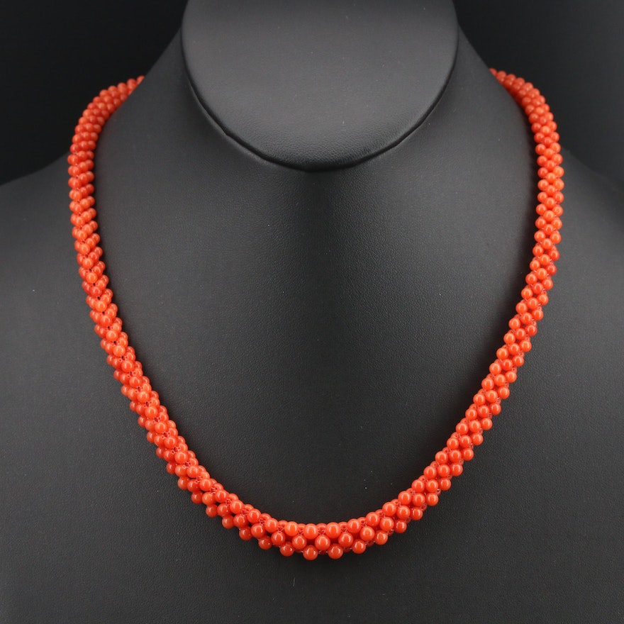 Woven Coral Necklace with 14K Clasp