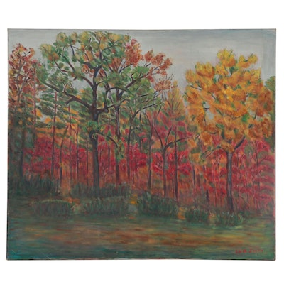 Lula Smith Autumnal Landscape Oil Painting, Late 20th Century