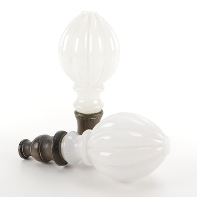 Victorian Fluted Milk Glass Curtain Rod Finials, Late 19th to Early 20th Century