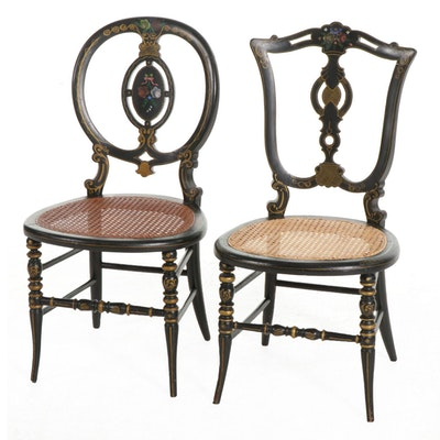 Two Victorian Hand-Painted Tole Ebonized Wood Chairs with Cane Seats