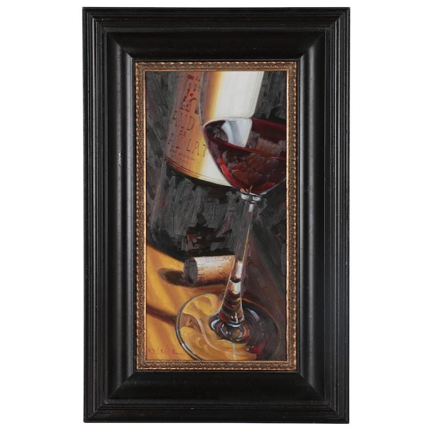 Still Life Oil Painting of Wine Glass, 21st Century