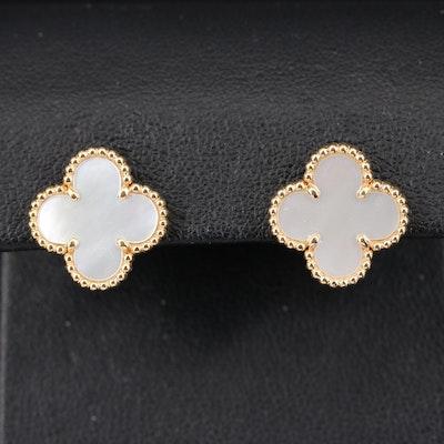 """Vintage Van Cleef & Arpels """"Alhambra"""" 18K Mother of Pearl Earrings"""